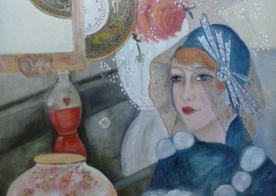 Kvinde i blåt med hund