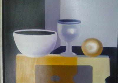 Opstilling med skål, glas og kugle